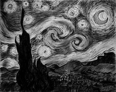 Sunflowers Drawings - Replica of Vincent van Gogh Starry Night by Jose A Gonzalez Jr