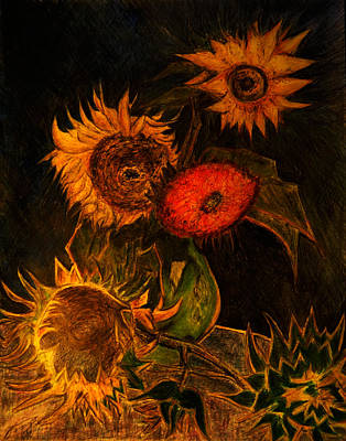 Still Life Drawings - Replica of Vincent Van Gogh Still Life Vase with Five Sunflowers by Jose A Gonzalez Jr