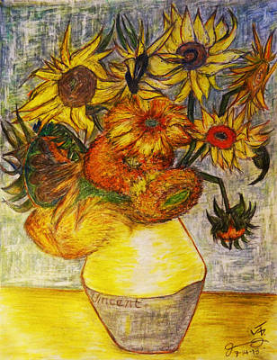 Still Life Drawings - Replica of Vincent Van Goghs Still Life - Vase with Twelve Sunflowers by Jose A Gonzalez Jr