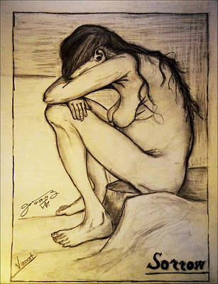Pennsylvania Drawing - Replica Of Vincent's Drawing - Sorrow by Jose A Gonzalez Jr