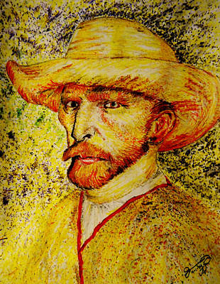Straw Hat Drawing - Replica Of Vincent's Self-portrait With Straw Hat 1887 by Jose A Gonzalez Jr