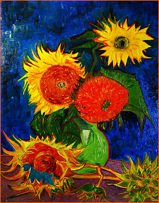 Replica Painting - Replica Of Vincent's Still Life Vase With 5 Sunflowers by Jose A Gonzalez Jr