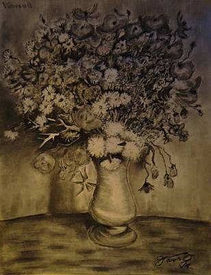 Still Life Drawings - Replica of Vincents Still Life  Vase with Cornflowers and Poppies by Jose A Gonzalez Jr