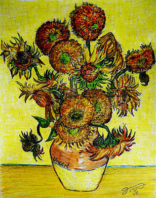 Still Life Drawings - Replica of Vincents Still Life Vase with Fifteen Sunflowers by Jose A Gonzalez Jr
