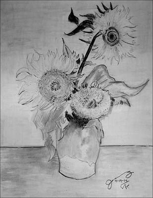 Still Life Drawings - Replica of Vincents Still Life - Vase with Three Sunflowers by Jose A Gonzalez Jr