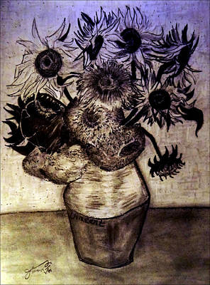 3.14 Drawing - Replica Of Vincent's Still Life - Vase With Twelve Sunflowers by Jose A Gonzalez Jr