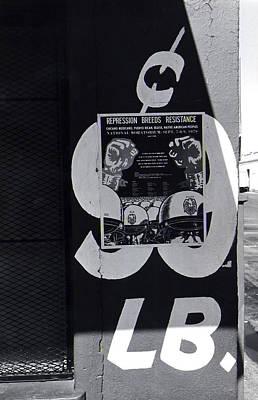Abstract Graphics - Repression breeds resistance poster Juarez Chihuahua Mexico 1979 black and white by David Lee Guss