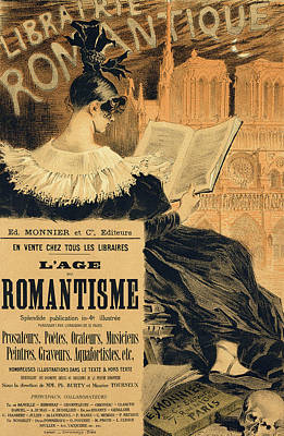 Bookshop Painting - Reproduction Of A Poster Advertising A Book Entitled The Romantic Age by Eugene Grasset