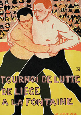 Advertisements Drawing - Reproduction Of A Poster Advertising A Wrestling Tournament by Armand Rossenfosse