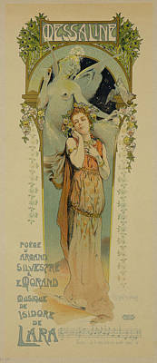 Singer Drawing - Reproduction Of A Poster Advertising by French School