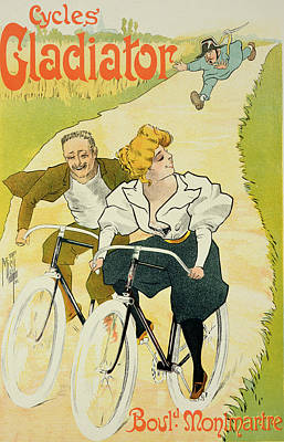 Cycling Drawing - Reproduction Of A Poster Advertising Gladiator Cycles by Ferdinand Misti Mifliez