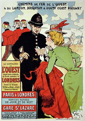 Gare Drawing - Reproduction Of A Poster Advertising by Jules Alexandre Gruen or Grun
