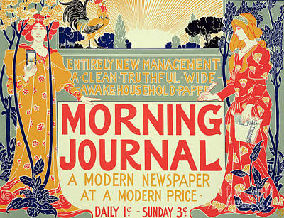 Sunrise Drawing - Reproduction Of A Poster Advertising The Morning Journal by Louis John Rhead