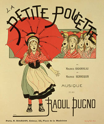 Singing Drawing - Reproduction Of A Poster Advertising The Operetta La Petite Poucette by Louis Maurice Boutet de Monvel