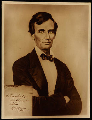 Lincoln Painting - Reproduction Print Of Lincoln With Signature Inserted August 13 1860 by MotionAge Designs