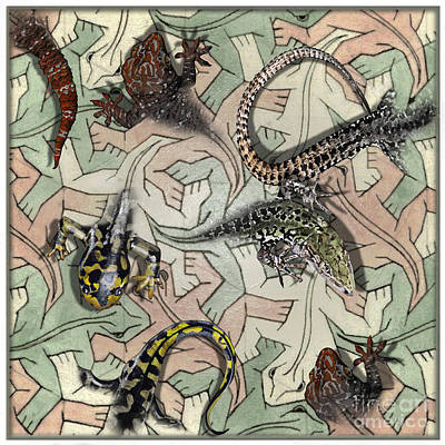 Focus On Foreground Mixed Media - Reptiles - Inspired By Escher - Elena Yakubovich by Elena Yakubovich