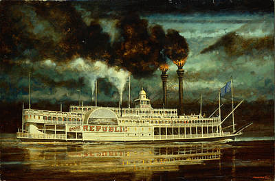 Steam Ships Painting - Grand Republic Steam Boat by Don  Langeneckert