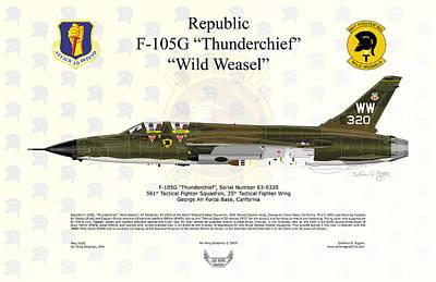 Republic F-105g Thunderchief 561tfs Art Print by Arthur Eggers