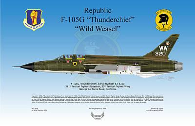Republic F-105g Thunderchief Art Print by Arthur Eggers
