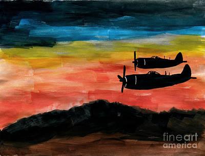 Republic P-47 Thunderbolts Art Print by R Kyllo