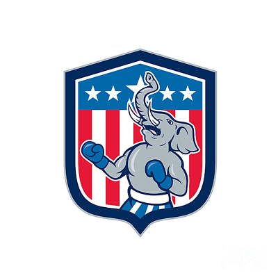 Digital Art - Republican Elephant Boxer Mascot Shield Cartoon by Aloysius Patrimonio