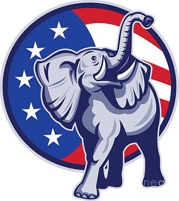 Republican Elephant Mascot Usa Flag Art Print by Aloysius Patrimonio