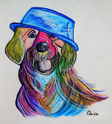 Funky Painting - Lab Repurposing The Water Bowl by Eloise Schneider