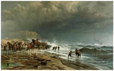 Rescue Along The Coast Art Print by Edward Moran
