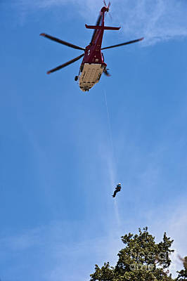 Photograph - Rescue Helicopter Over Los Angeles Mt Hollywood by David Zanzinger