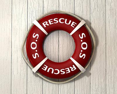 Nautical Digital Art - Rescue Lifebuoy by Allan Swart