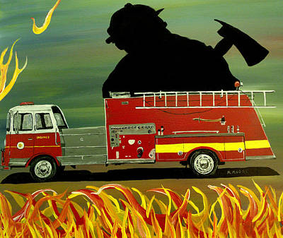 Old Fire Trucks Painting - Rescuer by Mark Moore