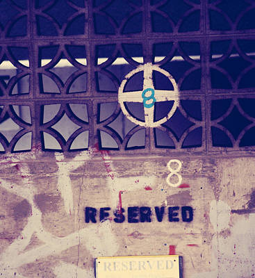 Grate Photograph - Reserved Eight by Empty Wall