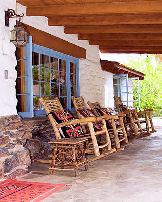 Rocking Chairs Photograph - Reserved Seating Palm Springs by William Dey
