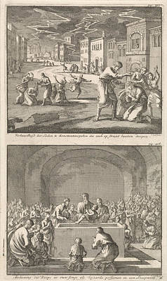 Constantinople Drawing - Residents Of Constantinople To Be Baptized In The Street by Jan Luyken And Barent Visscher And Jacobus Van Hardenberg