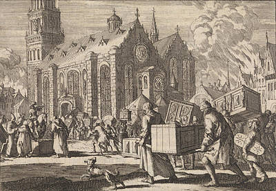 Spiers Drawing - Residents Of Spiers Bringing In Good Faith Their Furniture by Jan Luyken And Pieter Van Der Aa I