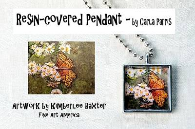 Jewelry - Resin Covered Pendant Of Butterfly And Daisies by Carla Parris