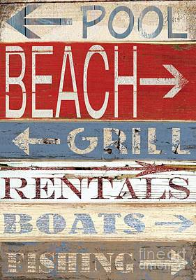 Shell Sign Painting - Resort Beach Sign by Grace Pullen