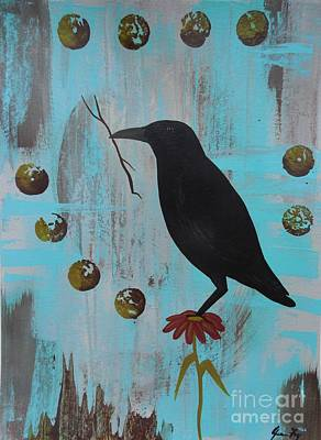 Painting - Resourcefulness Of The Crow by Jean Fry