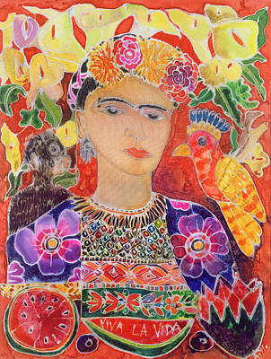 Respects To Frida Kahlo, 2002 Coloured Ink On Silk Art Print by Hilary Simon