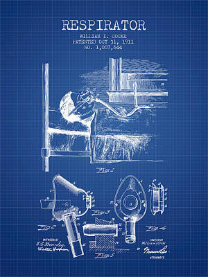 Respirator Patent From 1911 - Blueprint Art Print
