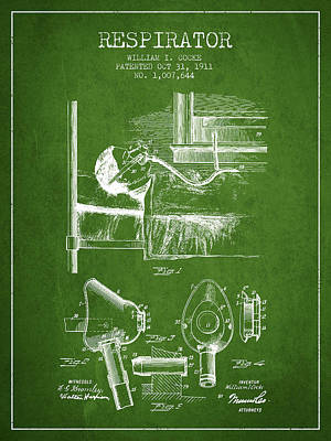 Respirator Patent From 1911 - Green Art Print