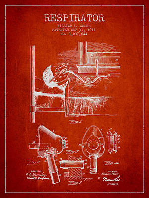 Respirator Patent From 1911 - Red Art Print