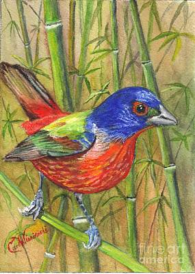 Handcrafted Drawing - Resplendent Painted Bunting by Carol Wisniewski