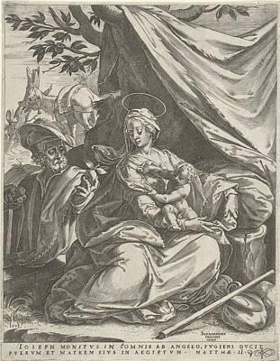 Dead Tree Drawing - Rest On The Flight Into Egypt, Print Maker Cornelis Cort by Cornelis Cort And Bernardino Passeri