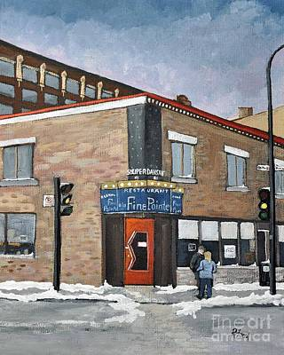 Montreal Restaurants Painting - Restaurant A La Fine Pointe by Reb Frost