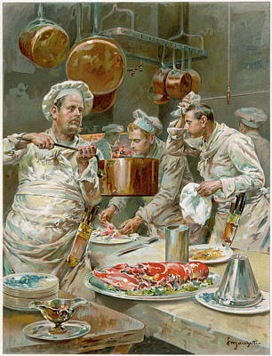 Sweating Drawing - Restaurant Chefs Preparing Food by Mary Evans Picture Library