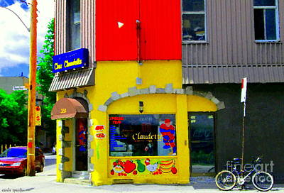 Quebec Painting - Restaurant Chez Claudette Boudreau Quebec Diner Laurier Plateau Montreal Scenes Carole Spandau  by Carole Spandau