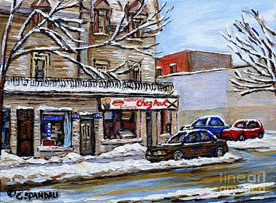 Verdun Streets Painting - Restaurant Chez Paul Pointe St. Charles Salle Billard Chez Paul Montreal Winter City Scene  by Carole Spandau
