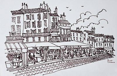 Restaurant Dining, Saint-tropez, French Art Print