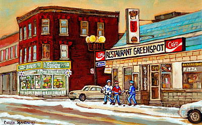 Restaurant Greenspot Painting - Restaurant Greenspot And Coin Vert Boutique Fleuriste Montreal Winter Street Hockey Scenes by Carole Spandau